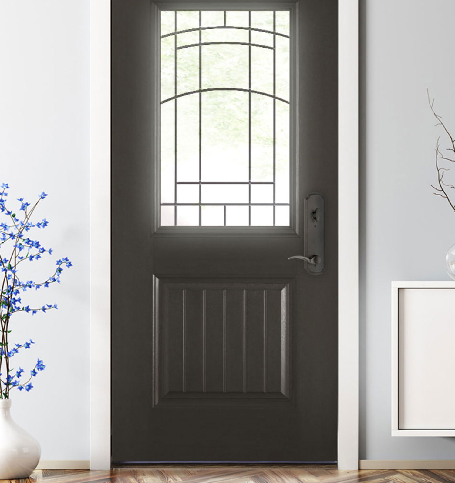 Inside a home with a fiberglass entry door from The Folding Door Store in Southern California.