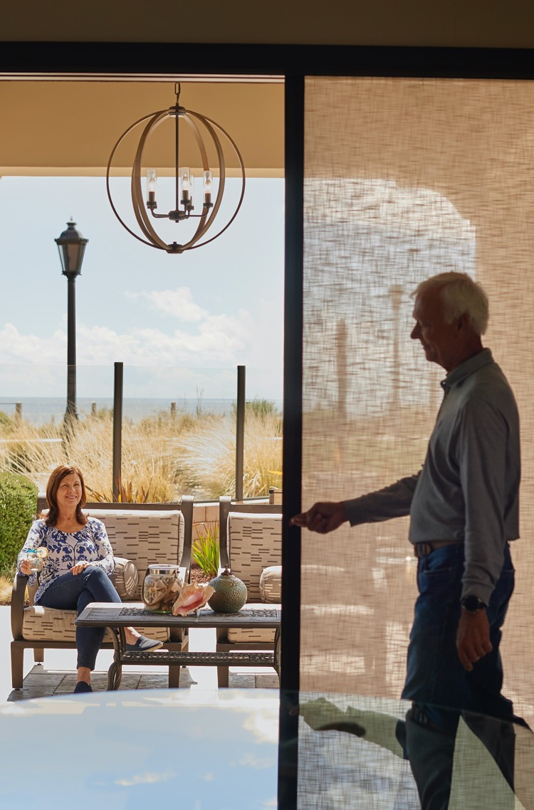 Easy to open and close screen doors allow easy access to patios and outdoor areas from The Folding Door Store.