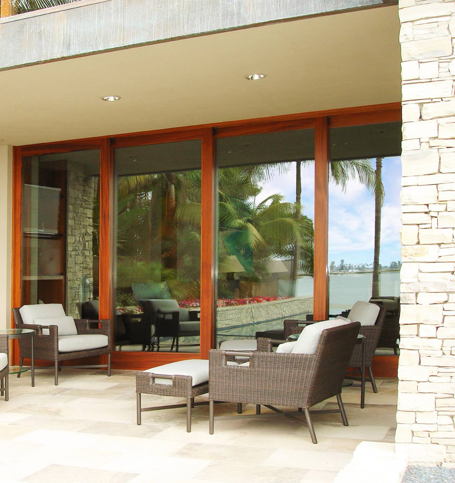 Lift-and-slide exterior glass sliding doors from The Folding Door Store.